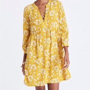 Madewell Assam Floral Silk Dress Yellow Small